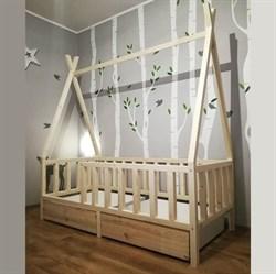 Кроватка Вигвам - с бортиками и ящиками - фото 5223